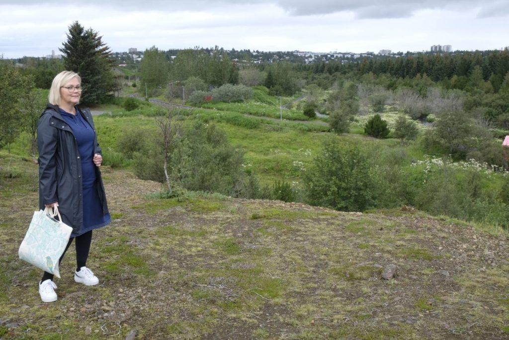 Hjördís stendur við norðurbakka svæðisins sem hefur verið skipulagt undir ALDIN Biodome, við brúnina verður útsýnispallur yfir dalinn.